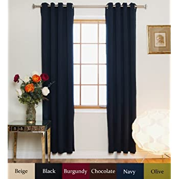 Navy Nickel Grommet Top Energy Saving Thermal Insulated Blackout Curtain 96 Inch Length Pair