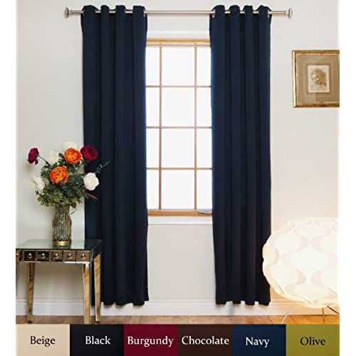 Blackout Curtain Navy Nickel Grommet Top Energy Saving Thermal Insulated 120 Inch Length Pair