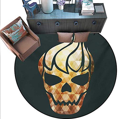 Modern Non-Slip Round Rugs Gothic Skull Fractal Effects