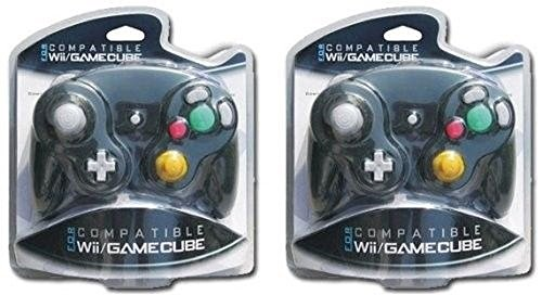 2X Controller for Gamecube Nintendo Game GC Wii Shock Black Color