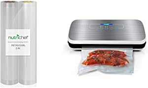 """NutriChef Two 8"""" X 10'' 4 mil Premium Vacuum Rolls - Commercial Grade Food Storage Sealer w/Automatic Vacuum Air Sealing System, Reusable Sealer For Food Preservation"""