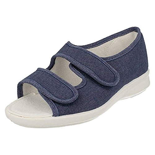 Ladies Easy B Canvas Sandals Cora - 6E-8E Width Navy fHWHuiI2lf