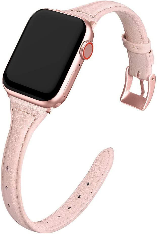MARGE PLUS Compatible Apple Watch Band 38mm 40mm Women, Slim Genuine Leather Watch Strap Replacement for iWatch SE Series 6 5 4 3 2 1, (Pink Band paired with Rose Pink Adapter)