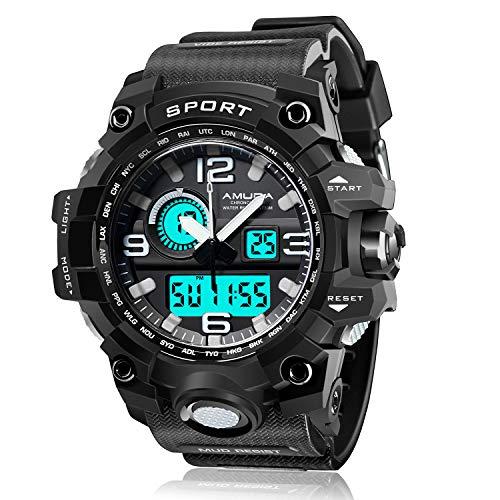 Mens Waterproof Digital Watch LED Screen Big Dial Military Casual Luminous Alarm Army Sports Watches