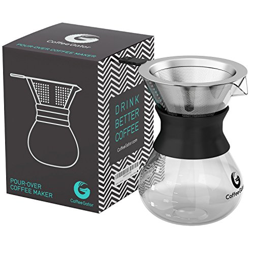 Coffee Gator Pour Over Coffee Maker - Paperless Stainless Steel Filter Dripper with BPA-Free Glass Carafe - 10.5 Ounce - Black - Products Carafe