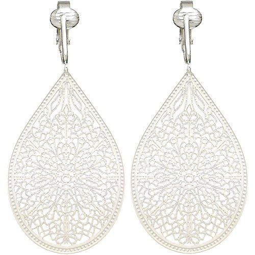 White Dangle Clip (Lovely Victorian Filigree Clip On Earrings for Women & Girls Clip-ons, Lightweight Teardrop Leaf Dangle (White))
