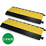 SHZOND Extreme Rubber 5 Channel Cable Protector Cable Ramps / Protectors Cable Ramp Cover 2 Pack Cable Protector Ramp Capacity 18000lbs Rubber Speed Bump