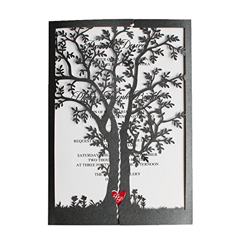 (Black Wedding Invitations, Tree Invitations, Red Heart Wedding Invitation Cards (30))