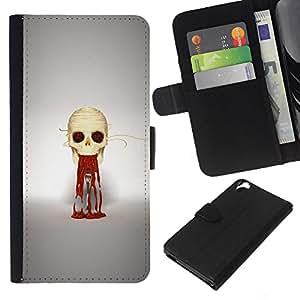 Stuss Case / Funda Carcasa PU de Cuero - Puke cráneo - HTC Desire 820