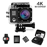 DareTang 4K Sports Camera Wifi HD 30fps,Waterproof Action Cam 170°Wide-Angle Len with SONY Sensor Include Carring Case,2pcs Batteries,Remote and Full Accessories Kits(Black dual Screen) Action Cameras Daretang