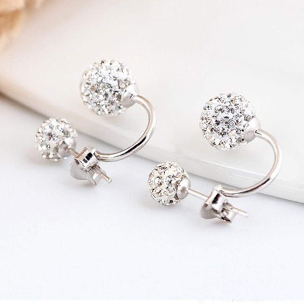 Vanilo 1 Pair Women Jewelry Silver Double Beaded Rhinestone Crystal Stud Earrings Stud