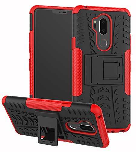 LG G7 Case, Yiakeng Dual Layer Shockproof Wallet Slim Protective with Kickstand Hard Phone Case Cover for LG G7 ThinQ 6.1 (Red2)