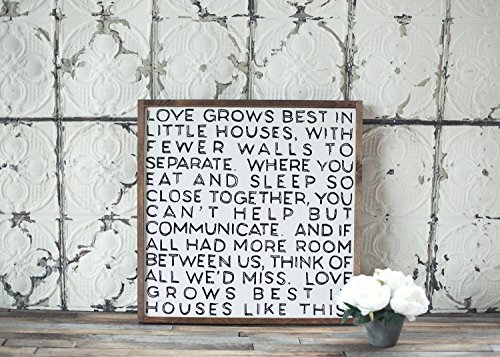 Love Grows Best In Little Houses - hand printed wooden panel by The Barn Social