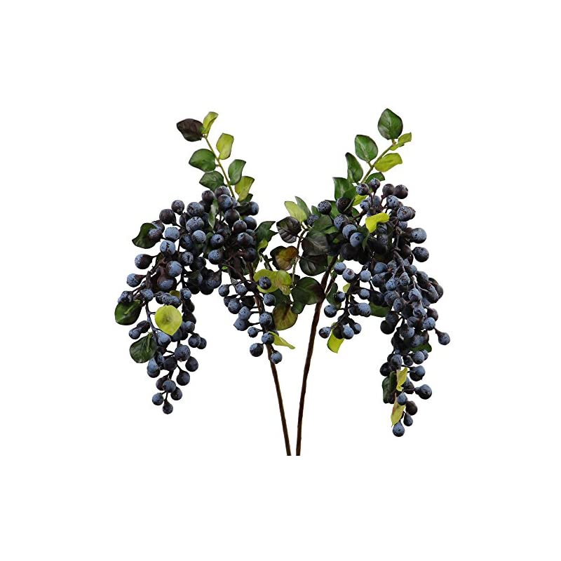 silk flower arrangements rinlong artificial blueberries fake berries stems hanging spray frosted blueberry fall floral picks for auntumn fall wreath thanksgiving christmas festival home kitchen party farmhouse decoration