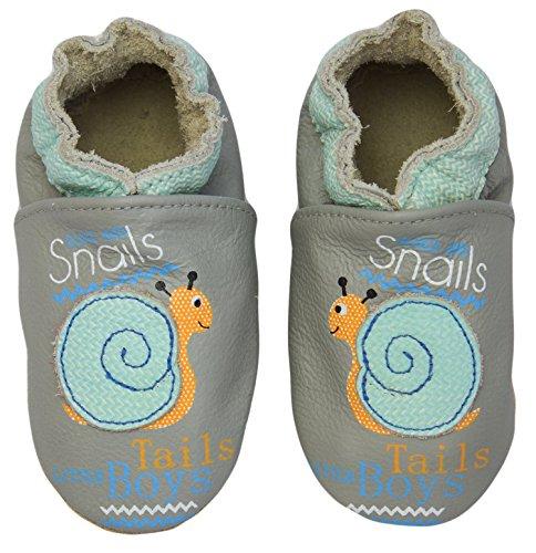 Rose & Chocolat RCC Smiling Snail Grey, Baby Jungen Krabbelschuhe, Grau (Smiling Snail Grey), 18/19 EU