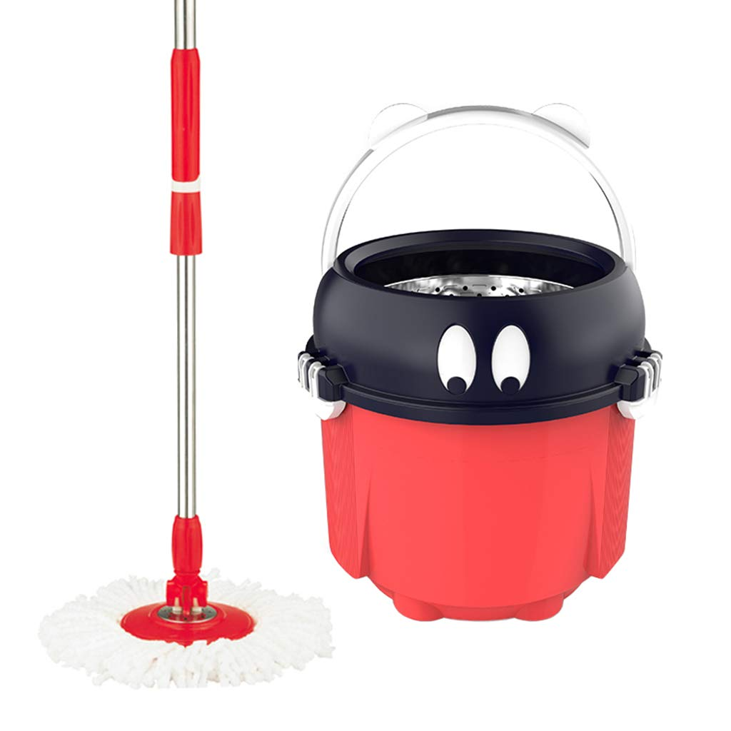 Happy Time Rotating MOP Home Single Barrel pier Butuo Bucket Double Drive mop Rotation Free Hand wash Dry and Wet Dual-use Stainless Steel mop,B