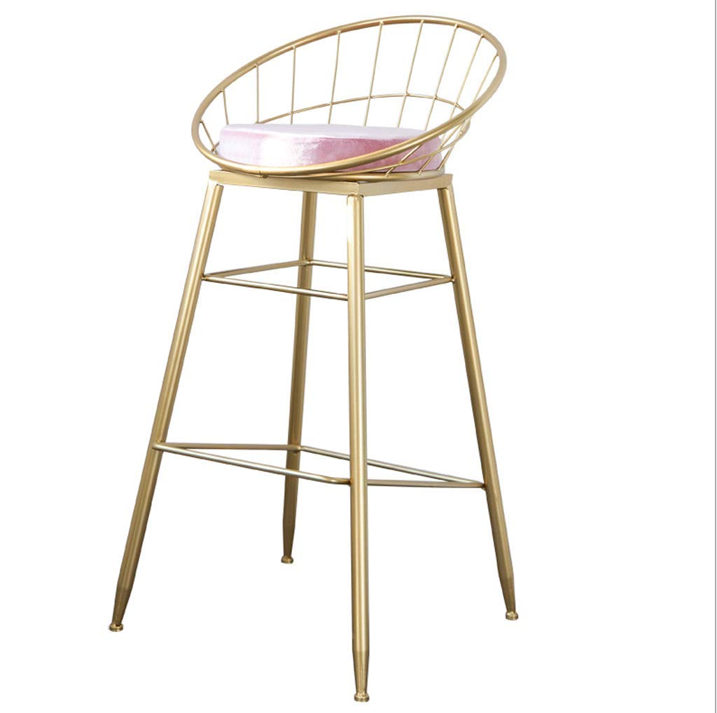 B ZQZ Iron Bar Stools,Modern Bar Chair Cloth Green Pink Mat and Wrought Iron Scaffolding, Suitable for Counter, Kitchen Breakfast Bar, Sitting Height 75cm ( ) (color   B)