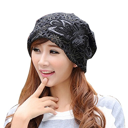 Women's Lace Hook Floral Baggy Beanie Slouchy Oversized Hat Black