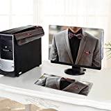 UHOO2018 One Machine LCD Monitor Keyboard Cover Grey Tuxedo Black Shirt and Bow tie dust Cover 3 Pieces /19'
