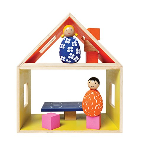 MiO Eating Place + 2 Bean Bag People Peg Dolls Imaginative Montessori Style STEM Learning Modular Wooden Building Playset for Boys and Girls 3 Years + Up by Manhattan Toy