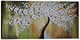 Flower Canvas Wall Art White Flower Tree Painting Hand Painted Decor Large Picture for Living Room Abstract Decoration White Plum Blossom Floral Modern Hand Artwork Bedroom Bathroom Home House