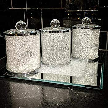 Crushed Diamond Crystal Kitchen Storage Homeware Range White-Silver, 15x10
