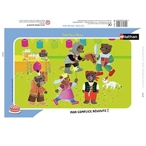 Nathan 86116 - Puzzle Enfant avec cadre - Petit Ours Brun - 15 Pièces