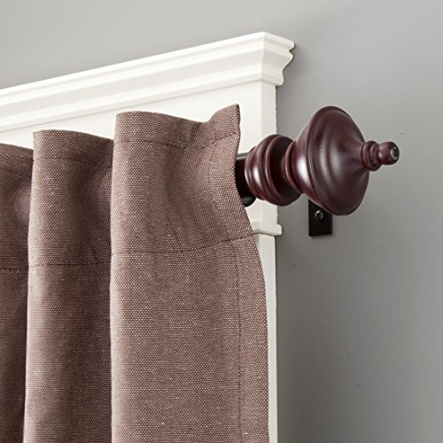 Kenney Rutherford Metal/Wood Window Curtain Rod, 28 To 48 Inch, Mahogany  Wooden Curtain Rod