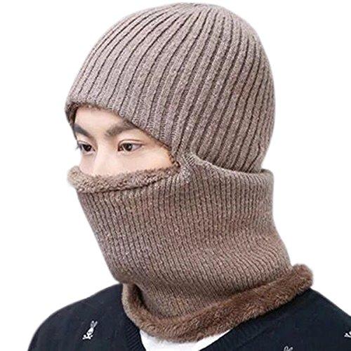 JOYEBUY Warm Knitted Balaclava Beanie Hat Windproof Ski Face Mask Winter Hats (Khaki)