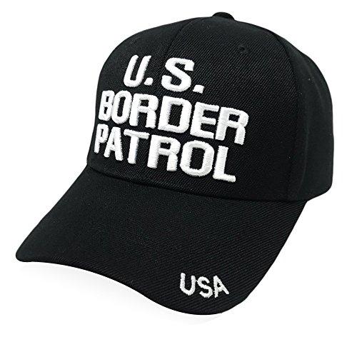 - GREAT CAP Classic Law Enforcement Cap - Classic Design Size Adjustable Embroidered Baseball Cap Velcro Closure - Black US Border Patrol