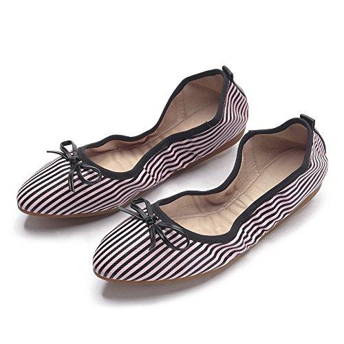 AllhqFashion Damen PU Leder Niedriger Absatz Spitz Zehe Ziehen auf Flache Schuhe Pink