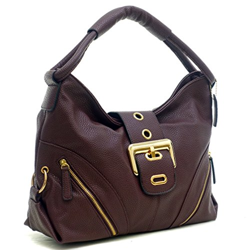 [Dasein Classic Fashion Hobo Shoulder Bag Handbag with Zippered Pockets (Coffee - New)] (Hobo Purses)