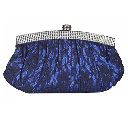 Clutch Bag Foral Party Lace Purse Diamante Blue Bridal Satin Crystal Bags Handbag Trim Design Evening Prom Wedding tHwqHg