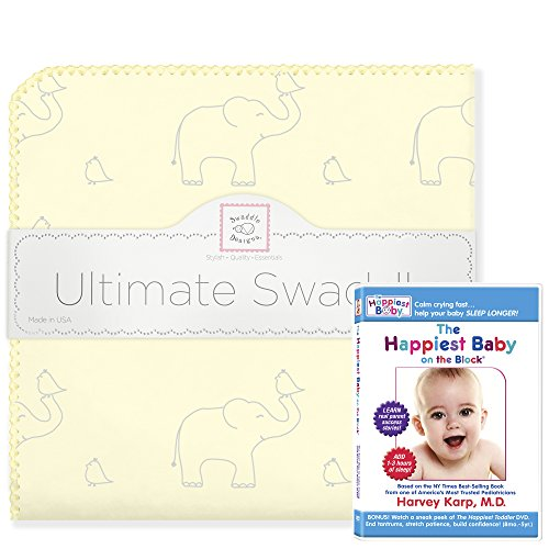 SwaddleDesigns Ultimate Swaddle (Mom's Choice Award Winner) and The Happiest Baby on The Block DVD Bundle, Sterling Deco Elephant, Sunwashed Yellow ()