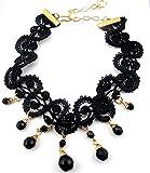 Sexy Black Lace Bead Choker Necklace