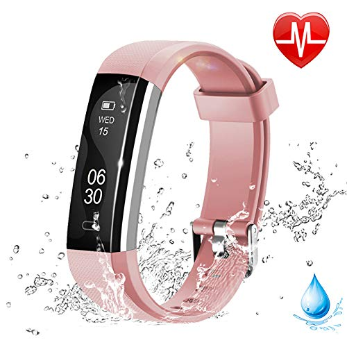 Lintelek Fitness Tracker – Slim Sports Watch with HR Monitor, IP67 Waterproof Activity Fitness Smart Watch for Women Men and Kids Pink