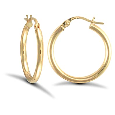 196ca53b9e280 Jewelco London Ladies 9ct Yellow Gold Polished 2mm Hoop Earrings 20mm