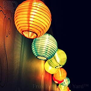 24 Multi-Color Lantern String Lights: Indoor Outdoor Mini Nylon Weather Resistant Lighting, Extra Long 16ft With Remote Control, Connectable up to 3 Sets, Bonus Hanging Hooks & Remote Control