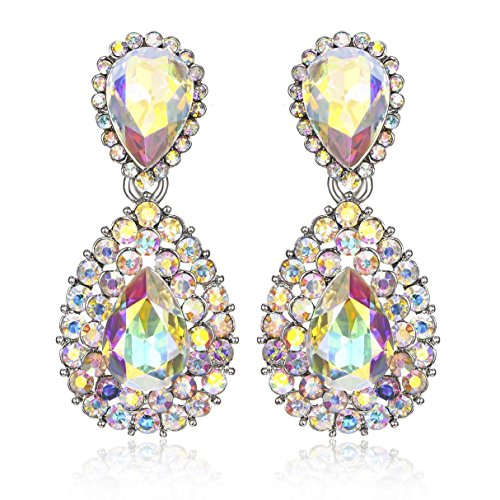 Janefashions Halo Drop Austrian Crystal Rhinestone Chandelier Dangle Earring Prom White or AB White E117 (AB White) ()