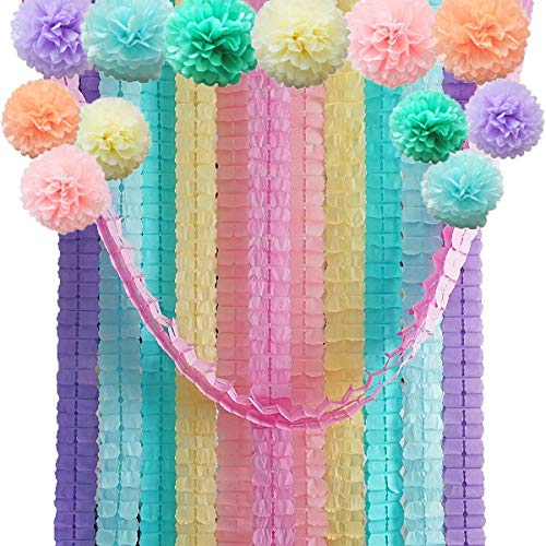 Four Leaf Tissue Paper Garland with Tissue Pom Poms Flowers Streamer Backdrop for Birthday Party Decorations, 24 Pack (Unicorn Themed) -