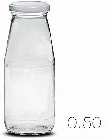 Botella de Leche, realizada en Cristal, con Capacidad de 0,5L y Cierre Hérmetico. Diseño Liso, Limpi