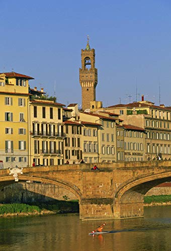 Florence Bell Tower and Bridge, 13x19 inch fine art print, Arno River, Italy, kayaker, travel, historic landscape photo nature photography wall art home office decor, signed by the - Photographs Florence