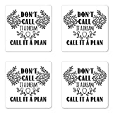 inspiring square kitchen plan Ambesonne Dream Coaster Set of Four, Don't Call It a Dream Call It a Plan Inspiring Creative Quote Floral Branches, Square Hardboard Gloss Coasters for Drinks, Black and White