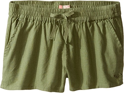 Roxy Kids Girl's Palm Three Shorts (Big Kids) Oil Green (Roxy Lightweight Shorts)