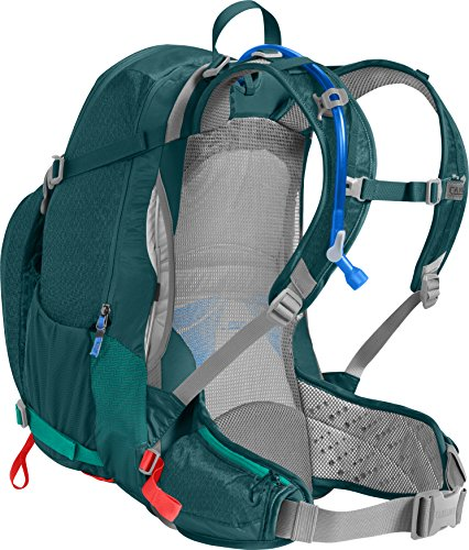 CamelBak Women's Sundowner LR Hydration Pack, Deep Teal/Hot Coral, 3L / 100 Oz Crux Lumbar Reservoir