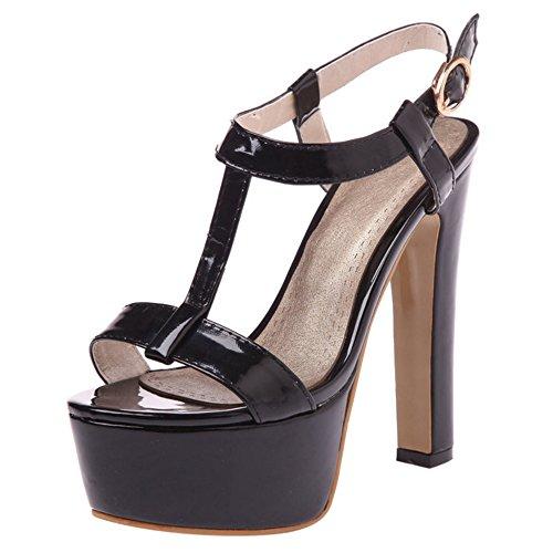 COOLCEPT Mujer Moda Correa en T Sandalias Punta Abierta Slingback Tacon ancho Zapatos Negro