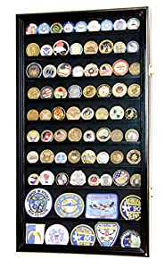 L Military Challenge Coin Display Case Cabinet Rack Holder Stand Box w/UV Protection, Black Finish by sfDisplay.com, LLC.