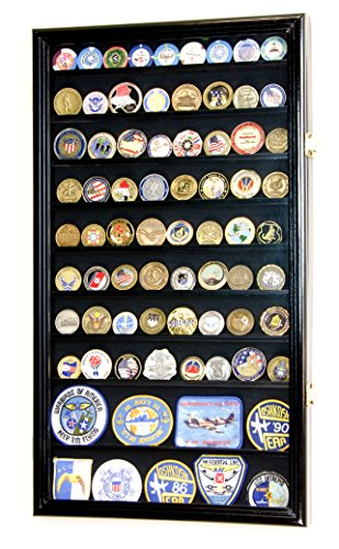 - Large Military Challenge Coin Display Case Cabinet Holders Rack w/ UV Protection, Black