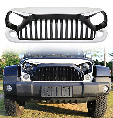 Danti painted Gladiator Vader Front Grill Grid Grille Cover For Jeep Wrangler Jk Jku Rubicon Sahara 2007 2008 2009 2010 2011 2012 2013 2014 2015 2016 2017 2018 (Gloss Black & W7 Bright White)