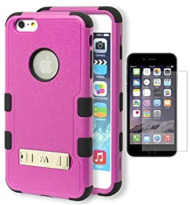 """iPhone 6 Plus Case, Bastex Heavy Duty Hybrid Protective Kickstand Case - Soft Black Silicone Cover with Pink Rib Design Kickstand Hard Shell Case for Apple iPhone 6, 5.5"""" Plus **INCLUDES A SCREEN PROTECTOR!**"""